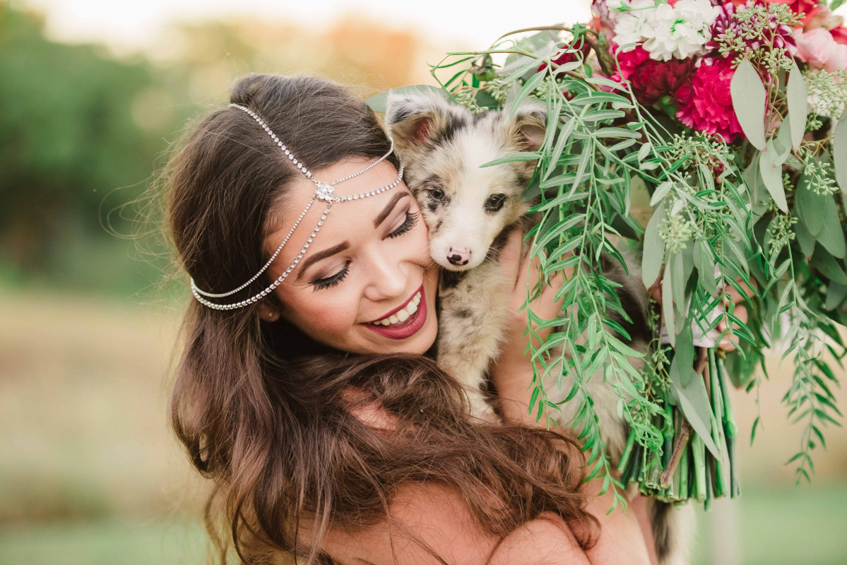 bride with puppy