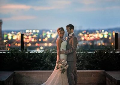 newlyweds at hotel van zandt at sunset
