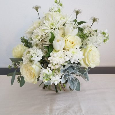 elegant white wedding bridal bouquet