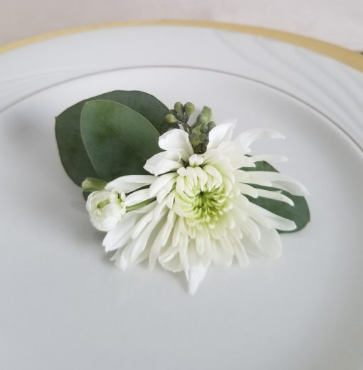 Elegant White Wedding boutonniere