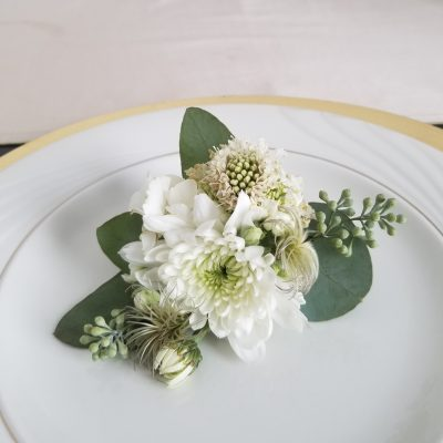 Elegant White Wedding corsage